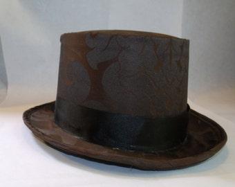 Brown Damask Steampunk Top Hat