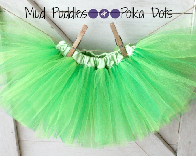 Tinkerbell Satin Lined Tutu Skirt - Green, Lime, Mint, Baby, Infant, Toddler, Girl, Fashion, Boutique, Halloween, Princess, Costume, HTT7