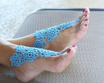 Crochet barefoot sandals sky blue vintage footless sandals foot jewelry summer cotton boho
