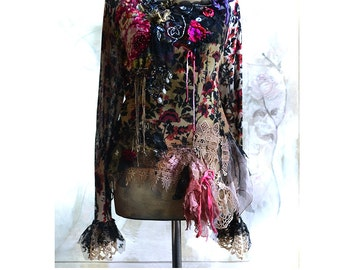Unique Atr To Wear Soft Sweater Blouse/Tunic Black Lace  ROSES And ROSES Twenties Style Tattered Boho