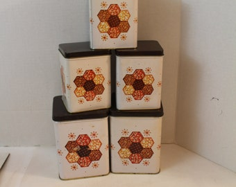 Vintage Mid Century Modern Tabletop 5 pc Tin Canister Set