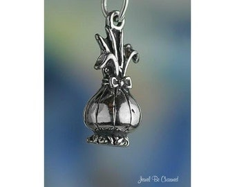 Sterling Silver Onion Charm Vegetable Cook Gardener 3D Solid .925