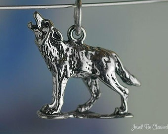 Sterling Silver Wolf Charm Wolves Howling at the Moon 3D Solid .925