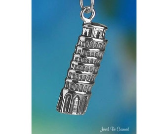 Sterling Silver Leaning Tower of Pisa Charm Italy Travel Solid .925
