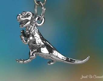Sterling Silver T Rex Tyrannosaurus Rex Charm Dinosaur 3D Solid .925