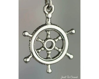 Sterling Silver Boat Captain Wheel Charm Nautical Sailing 3D Solid 925