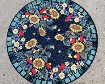 "30"" round, Sunflowers and Cardinals garden mosaic tile table. Individually handmade ceramic mosaic art tiles."