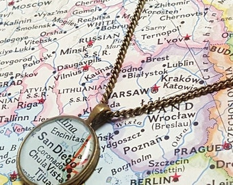 San Diego, California 1951 Map Necklace. Ready to Ship. Map Pendant. Map Jewelry.