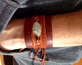 Leather wrap bracelet with aquamarine stone