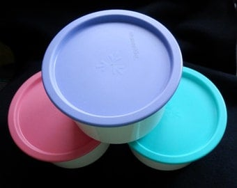 Vintage Tupperware - One Touch Canister - Pink / Teal Seal   (6 pcs)