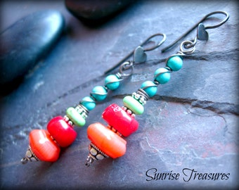 Red Coral and Turquoise Earrings, Southwest Earrings, Rustic Wire Wrapped Gemstone Dangle Earrings, Cowgirl Southwest Jewelry