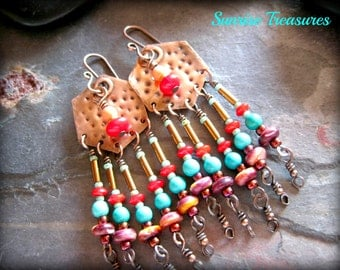 Artisan Southwest Earrings, Textured Metalwork Copper Earrings, Spiny Oyster/Red Coral/Genuine Turquoise, Colorful Southwest Jewelry