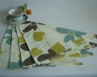 4 Green Napkins Funky Retro Blue Floral Aubergine Fabric washable ANY of MY DESIGNS