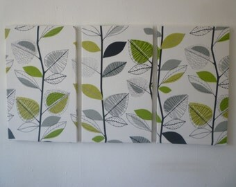 Big Lime Green Fabric Wall Art Funky Retro Designer Cotton Triptych 3 piece Picture Hanging
