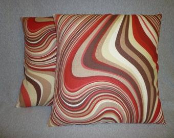 "Red  PAIR Cushion Pillow Covers Brown Psychadelic Retro Pillowcase Sham Slip Throw 16"" (40cm)"