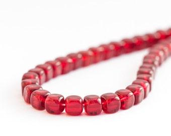Garnet Beads, Pressed Czech Glass Cube Beads, Red Marsala Square Beads (5/7mm) x 25