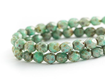 NEW Turquoise Green Picasso Bead Spacers, Faceted Round Fire Polished Czech Glass (6mm) x 25