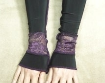 Black and Purple Fingerless Gloves Gothic Arm warmers Fantasy Belly Dance Goth Long Sleeves Sanguine Steampunk Noir Glam Lace