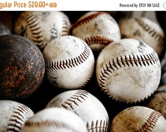 CHRISTMAS in JULY SALE Vintage Baseballs No. One, Photo Print ,Decorating Ideas, Wall Decor, Wall Art,  Kids Room, Nursery Ideas, Gift Ideas
