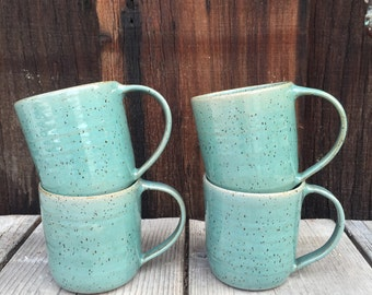Coffee cup mug -  cappuccino mug ceramic in aqua speckled latte large