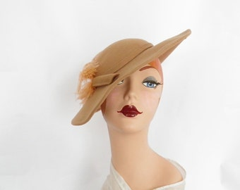 1960s tilt hat with ostrich feather, vintage camel wool