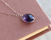 SALE, Gemstone Necklace, Crystal Necklace, Amethyst Necklace, Amethyst Pendant Necklace, Amethyst Faceted Stone Necklace, Mineral Necklace