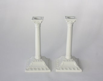 Vintage Pair of Tall White Porcelain Candlesticks by Boehm