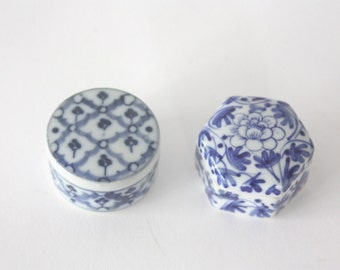 Vintage Pair of Blue and White Hand Painted Boxes from Thailand