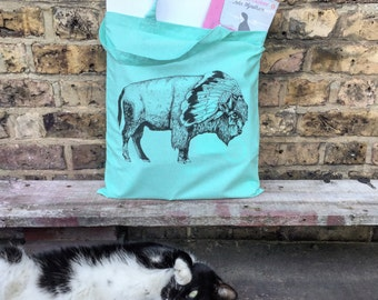 White Bison // Mint coloured - Screen Printed Tote Bag