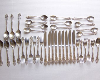 Stainless Flatware Vintage Flatware Rogers Felice Silverware Stainless 39 Pieces Vintage Stainless A147