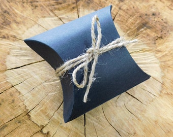 Mini Wrap Black Pillow Boxes. 2.5x1.5 inches. Package of 5. Black Pillow Boxes, Wedding Favor, Rustic Party Favor, Small Pillow Boxes Gifts