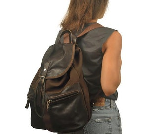 Backpack Handmade, unisex, made in canvas - leather ,named Iossif