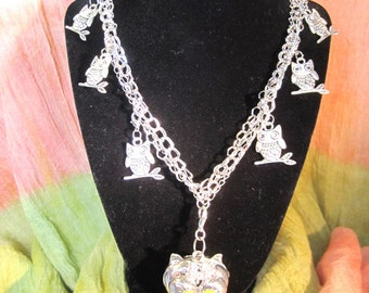 Crystal Owl Charm Necklace