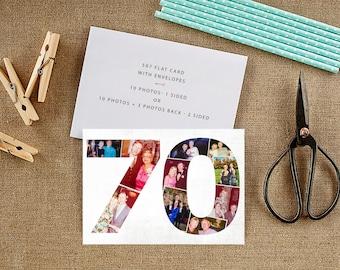 70 Birthday Invitation, Photo Birthday Invitation, Milestone Birthday invitation, Any Occasion Cards, With envelopes - DIGITAL or PRINTED
