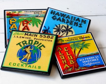 Retro Tiki Bar Decor Coaster Set, Tiki Room wood drink coasters, set of four, tropical beach decor, man cave gifts