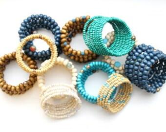 Beaded wrap bracelet, Wrap bracelet, wood bracelet, beaded bracelet, wrap cuff