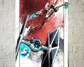 Star Wars, X-wing and Tie Fighter battle, Art Print, Star Wars print, Star Wars Poster, Red wall art, Fan Art illustration