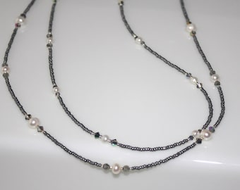 STERLING SILVER, White FRESHWATER Pearl and Crystal Double-Strand Necklace