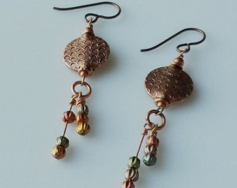 Love My Mother EARRINGS/COPPER, Mixed Colored Metal
