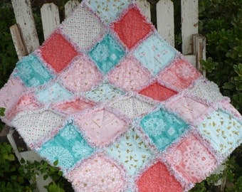 Baby Girl Rag Crib Quilt-Tribal Woodland Brambleberry Ridge Roses Birds Coral Mint Peach and Turquoise with Gold Ready to Ship