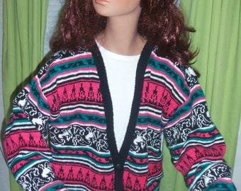 90s Retro Hipster Knitted Cardigan Sweater SMALL