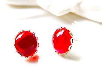 Cherry Red Round Scalloped Rhinestone Post Earrings - Wedding, Bridal, Bridesmaids