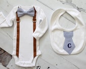 Newborn Baby Boy Coming Home Outfit Set. Bow Tie and Suspender Bodysuit and Personalized Tie Bib. Baby Shower Gift, 1st First Holiday
