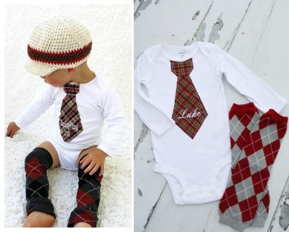 Christmas Baby Boy Personalized Tie Bodysuit and Argyle Leg Warmers Set. Burgundy Plaid w tan navy. Holiday 1st Birthday Outfit