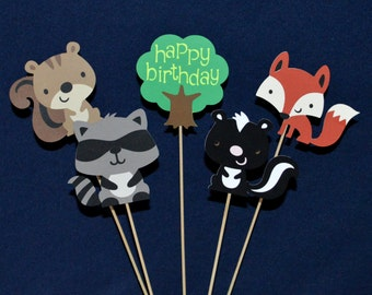 5 Forest Birthday Centerpiece Sticks Squirrel Raccoon Fox Skunk Tree Table Decorations Cake Decoration Up to 3 sets for SAME SHIPPING