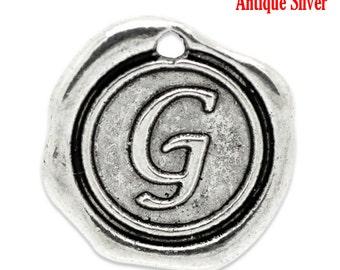 """5pcs. Antique Silver LARGE Letter """"G"""" Alphabet Letter - 18mm x18mm - Wax Design"""