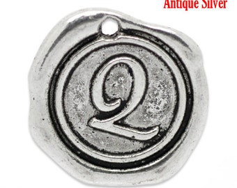 "5pcs. Antique Silver LARGE Letter ""Q"" Alphabet Letter - 18mm x18mm - Wax Design"