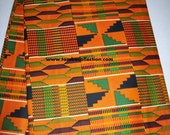 Traditional Kente Print in Tangerine, green and black per yard, Kente #2/ African head wraps, Scarves/ African Clothing/ African Stoles