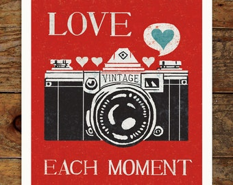 Vintage Camera, Love Each Moment, 11x14 Art Print