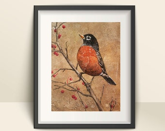 Robin Red Breast Art Print, Paper Art Print of a Robin, Giclee Print of a Robin Perched on a Tree Branch with Berries, Pictures of Birds